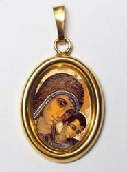 Immagine di La Vergine del Cammino Ciondolo Pendente ovale mm 19x24 (0,75x0,95 inch) Argento placcato Oro e Porcellana Unisex Uomo Donna