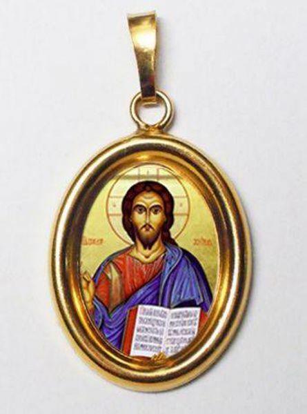 Imagen de Cristo Pantocrátor Medalla Colgante oval mm 19x24 (0,75x0,95 inch) Plata con baño de oro y Porcelana Unisex Mujer Hombre