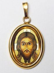 Picture of The Holy Face Gold plated Silver and Porcelain oval Pendant mm 19x24 (0,75x0,95 inch) Unisex Woman Man