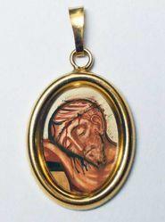 Imagen de Preciosa Sangre de Jesús Medalla Colgante oval mm 19x24 (0,75x0,95 inch) Plata con baño de oro y Porcelana Unisex Mujer Hombre