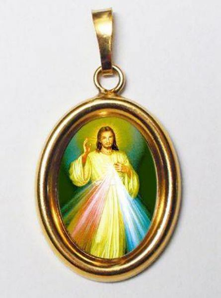 Imagen de Jesús Misericordioso Medalla Colgante oval mm 19x24 (0,75x0,95 inch) Plata con baño de oro y Porcelana Unisex Mujer Hombre