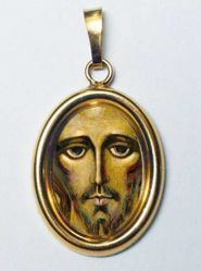 Picture of Christ by Kiko Gold plated Silver and Porcelain oval Pendant mm 19x24 (0,75x0,95 inch) Unisex Woman Man
