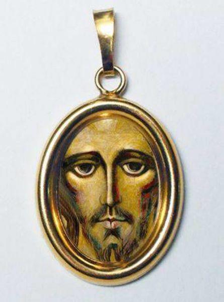 Imagen de Cristo de Kiko Medalla Colgante oval mm 19x24 (0,75x0,95 inch) Plata con baño de oro y Porcelana Unisex Mujer Hombre