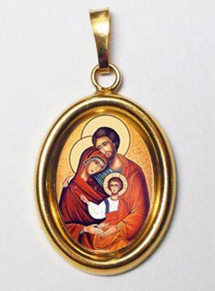 Imagen de Sagrada Familia Medalla Colgante oval mm 19x24 (0,75x0,95 inch) Plata con baño de oro y Porcelana Unisex Mujer Hombre
