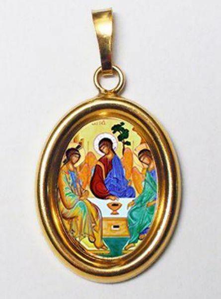 Imagen de Trinidad Medalla Colgante oval mm 19x24 (0,75x0,95 inch) Plata con baño de oro y Porcelana Unisex Mujer Hombre