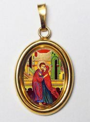 Picture of The embrace of the newlyweds St Anne and St. Joachim Gold plated Silver and Porcelain oval Pendant mm 19x24 (0,75x0,95 inch) Unisex Woman Man