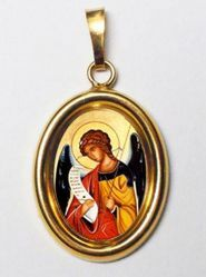 Picture of Archangel Gabriel Gold plated Silver and Porcelain oval Pendant mm 19x24 (0,75x0,95 inch) Unisex Woman Man and Kids