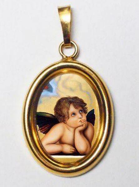 Immagine di Angelo Ciondolo Pendente ovale mm 19x24 (0,75x0,95 inch) Argento placcato Oro e Porcellana Unisex Uomo Donna e Bambini