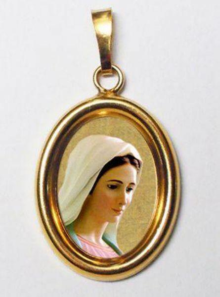 Immagine di Madonna di Medjugorje Ciondolo Pendente ovale mm 19x24 (0,75x0,95 inch) Argento placcato Oro e Porcellana Unisex Uomo Donna