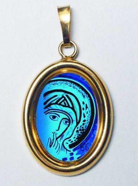 Imagen de Nuestra Señora del Silencio de Kiko Medalla Colgante oval mm 19x24 (0,75x0,95 inch) Plata con baño de oro y Porcelana MSKSOVL Unisex Mujer Hombre