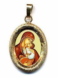 Imagen de Virgen de la Encarnación Medalla Colgante oval acabado diamante mm 19x24 (0,75x0,95 inch) Plata con baño de oro y Porcelana Unisex Mujer Hombre