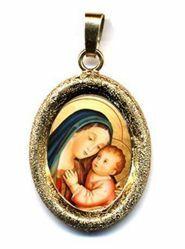 Imagen de Nuestra Señora del Buen Consejo Medalla Colgante oval acabado diamante mm 19x24 (0,75x0,95 inch) Plata con baño de oro y Porcelana Unisex Mujer Hombre