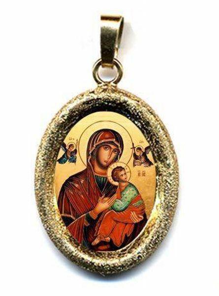 Immagine di Madonna del Perpetuo Soccorso Ciondolo Pendente ovale diamantato mm 19x24 (0,75x0,95 inch) Argento placcato Oro e Porcellana Unisex Uomo Donna