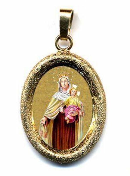 Imagen de Virgen del Carmen Medalla Colgante oval acabado diamante mm 19x24 (0,75x0,95 inch) Plata con baño de oro y Porcelana Unisex Mujer Hombre