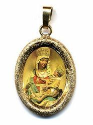 Picture of Our Lady of Castelmonte Gold plated Silver and Porcelain diamond-cut oval Pendant mm 19x24 (0,75x0,95 inch) Unisex Woman Man