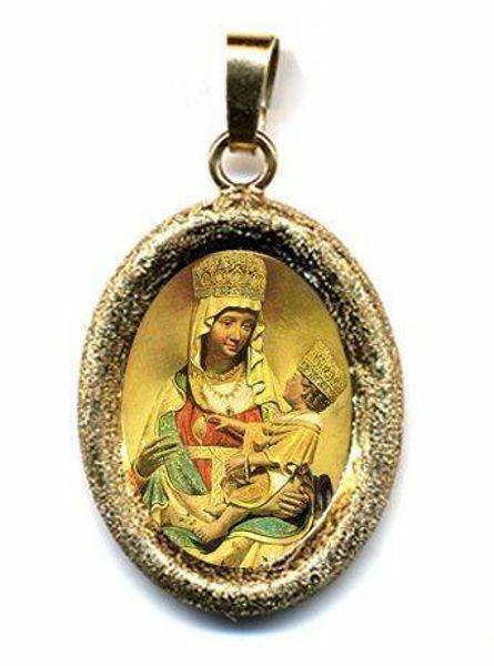 Immagine di Madonna di Castelmonte Ciondolo Pendente ovale diamantato mm 19x24 (0,75x0,95 inch) Argento placcato Oro e Porcellana Unisex Uomo Donna