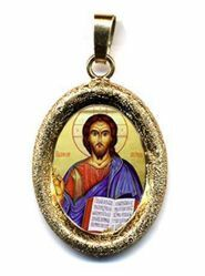 Picture of Christ Pantocrator Gold plated Silver and Porcelain diamond-cut oval Pendant mm 19x24 (0,75x0,95 inch) Unisex Woman Man