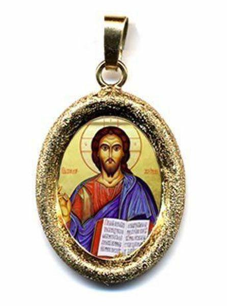 Imagen de Cristo Pantocrátor Medalla Colgante oval acabado diamante mm 19x24 (0,75x0,95 inch) Plata con baño de oro y Porcelana Unisex Mujer Hombre