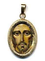 Picture of Christ by Kiko Gold plated Silver and Porcelain diamond-cut oval Pendant mm 19x24 (0,75x0,95 inch) Unisex Woman Man