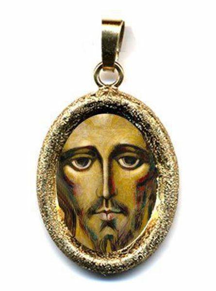 Immagine di Cristo di Kiko Ciondolo Pendente ovale diamantato mm 19x24 (0,75x0,95 inch) Argento placcato Oro e Porcellana Unisex Uomo Donna