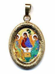 Imagen de Trinidad Medalla Colgante oval acabado diamante mm 19x24 (0,75x0,95 inch) Plata con baño de oro y Porcelana Unisex Mujer Hombre