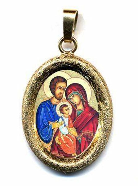 Imagen de Sagrada Familia Medalla Colgante oval acabado diamante mm 19x24 (0,75x0,95 inch) Plata con baño de oro y Porcelana Unisex Mujer Hombre