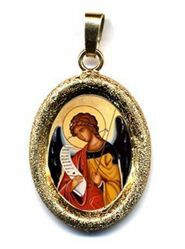 Picture of Archangel Gabriel Gold plated Silver and Porcelain diamond-cut oval Pendant mm 19x24 (0,75x0,95 inch) Unisex Woman Man and Kids