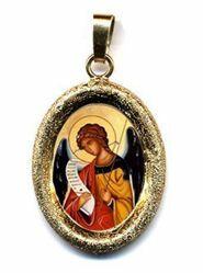 Imagen de Arcángel Gabriel Medalla Colgante oval acabado diamante mm 19x24 (0,75x0,95 inch) Plata con baño de oro y Porcelana Unisex Mujer Hombre y Niños