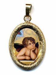 Picture of Angel Gold plated Silver and Porcelain diamond-cut oval Pendant mm 19x24 (0,75x0,95 inch) Unisex Woman Man and Kids
