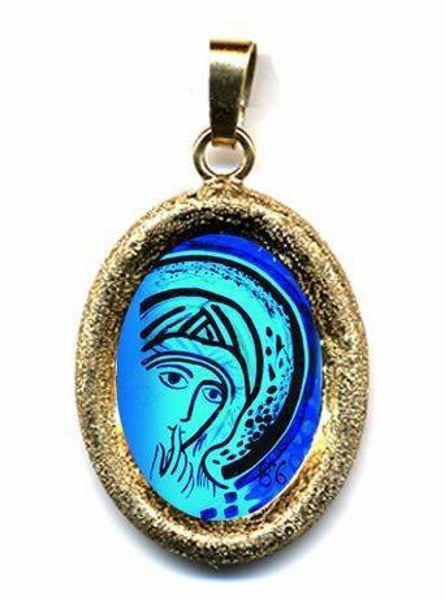 Imagen de Nuestra Señora del Silencio de Kiko Medalla Colgante oval acabado diamante mm 19x24 (0,75x0,95 inch) Plata con baño de oro y Porcelana Unisex Mujer Hombre