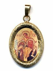 Picture of Holy Family of Kiko Gold plated Silver and Porcelain diamond-cut oval Pendant mm 19x24 (0,75x0,95 inch) Unisex Woman Man