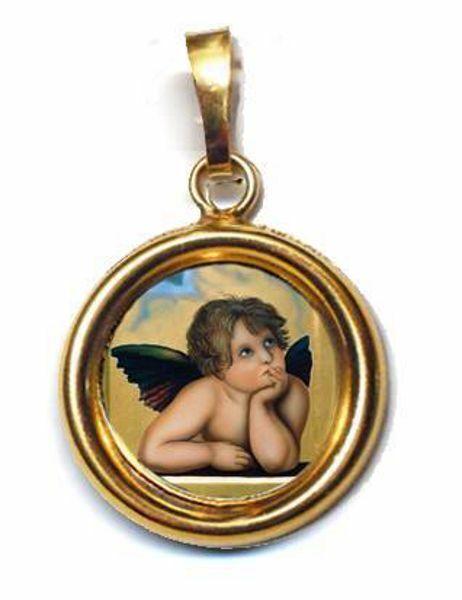 Imagen de Ángel Medalla colgante redonda Diám mm 19 (0 75 inch) Plata con baño de oro y Porcelana Unisex Mujer Hombre y Niños