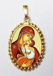 Imagen de Virgen de la Encarnación Medalla colgante oval de corona mm 24x30 (0,94x1,18 inch) Plata con baño de oro y Porcelana para Mujer