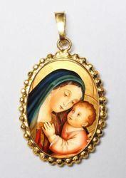 Imagen de Nuestra Señora del Buen Consejo Medalla colgante oval de corona mm 24x30 (0,94x1,18 inch) Plata con baño de oro y Porcelana para Mujer