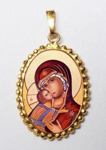 Imagen de Virgen de Vladimir Medalla colgante oval de corona mm 24x30 (0,94x1,18 inch) Plata con baño de oro y Porcelana para Mujer