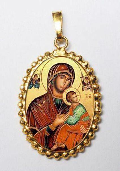 Immagine di Madonna del Perpetuo Soccorso Ciondolo Pendente ovale a corona mm 24x30 (0,94x1,18 inch) Argento placcato Oro e Porcellana da Donna