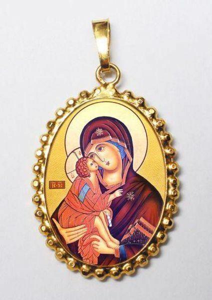 Immagine di Madonna della Tenerezza Ciondolo Pendente ovale a corona mm 24x30 (0,94x1,18 inch) Argento placcato Oro e Porcellana da Donna