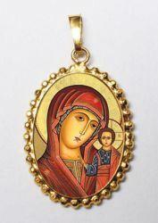 Imagen de Virgen de Kazán Medalla colgante oval de corona mm 24x30 (0,94x1,18 inch) Plata con baño de oro y Porcelana para Mujer