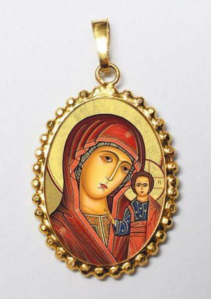 Picture of Our Lady of Kazan Gold plated Silver and Porcelain Pendant with crown frame mm 24x30 (0,94x1,18 inch) for Woman