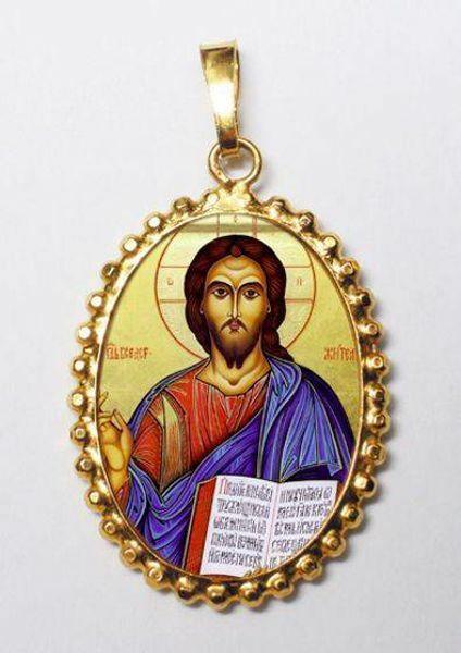 Imagen de Cristo Pantocrátor Medalla colgante oval de corona mm 24x30 (0,94x1,18 inch) Plata con baño de oro y Porcelana para Mujer