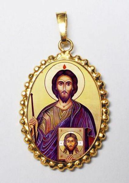Picture of Saint Jude Thaddeus Patron of the Lost Causes Gold plated Silver and Porcelain Pendant with crown frame mm 24x30 (0,94x1,18 inch) for Woman