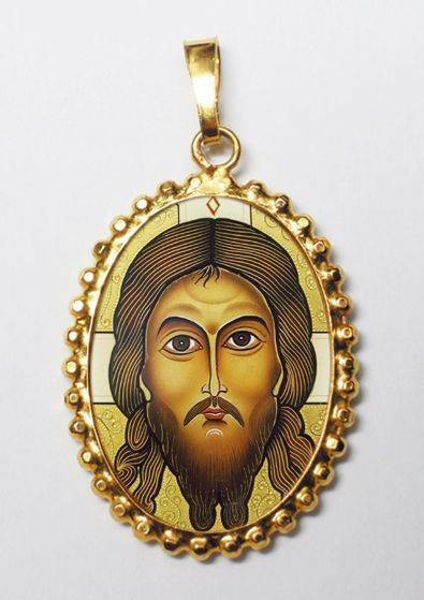 Picture of The Holy Face Gold plated Silver and Porcelain Pendant with crown frame mm 24x30 (0,94x1,18 inch) for Woman