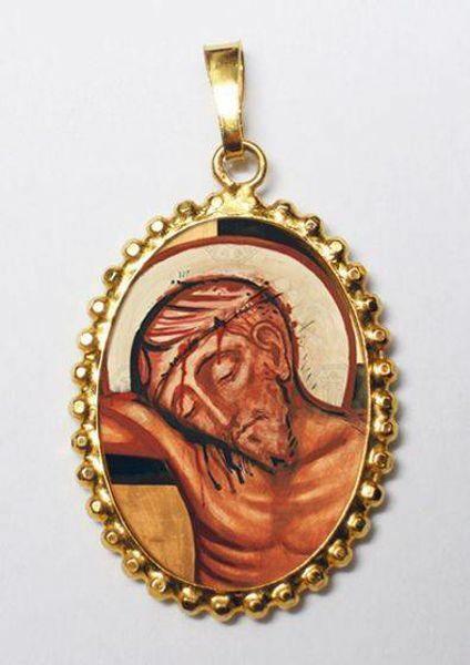 Imagen de Preciosa Sangre de Jesús Medalla colgante oval de corona mm 24x30 (0,94x1,18 inch) Plata con baño de oro y Porcelana para Mujer