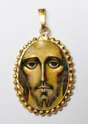Picture of Christ by Kiko Gold plated Silver and Porcelain Pendant with crown frame mm 24x30 (0,94x1,18 inch) for Woman