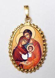Imagen de Sagrada Familia Medalla colgante oval de corona mm 24x30 (0,94x1,18 inch) Plata con baño de oro y Porcelana para Mujer