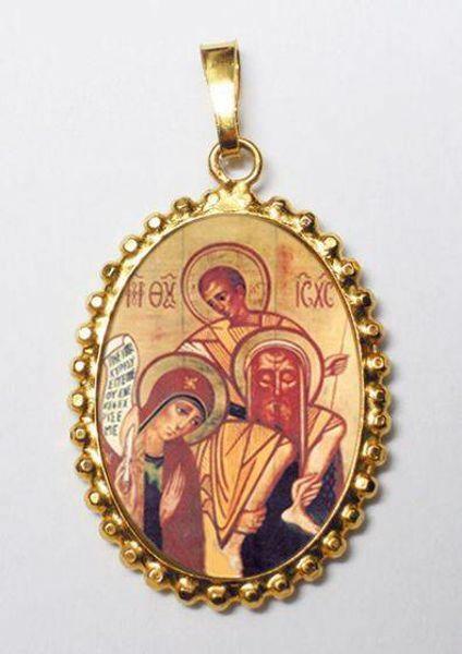 Immagine di Sacra Famiglia di Kiko Ciondolo Pendente ovale a corona mm 24x30 (0,94x1,18 inch) Argento placcato Oro e Porcellana da Donna