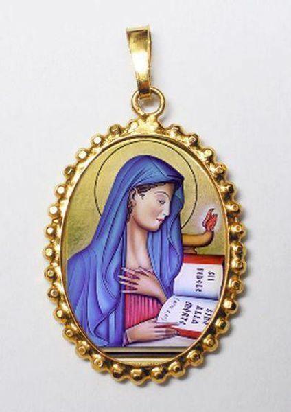 Immagine di Virgo Fidelis Ciondolo Pendente ovale a corona mm 24x30 (0,94x1,18 inch) Argento placcato Oro e Porcellana da Donna