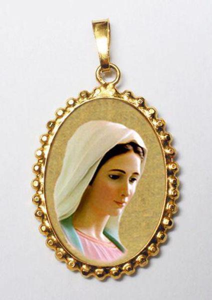 Immagine di Madonna di Medjugorje Ciondolo Pendente ovale a corona mm 24x30 (0,94x1,18 inch) Argento placcato Oro e Porcellana da Donna