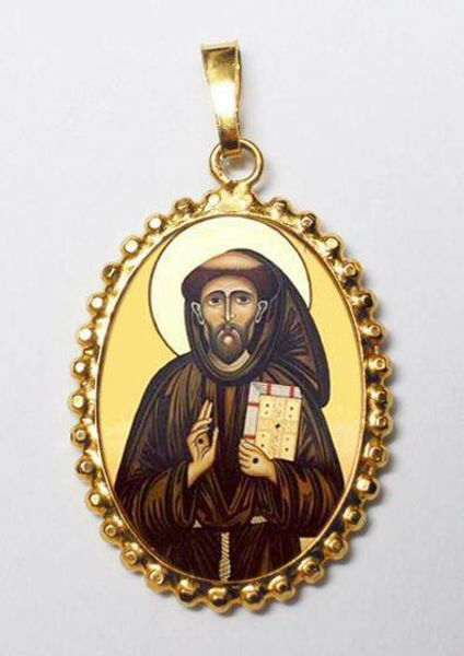Picture of Saint Francis Gold plated Silver and Porcelain Pendant with crown frame mm 24x30 (0,94x1,18 inch) for Woman