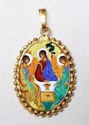 Imagen de Trinidad Medalla colgante oval de corona mm 24x30 (0,94x1,18 inch) Plata con baño de oro y Porcelana para Mujer